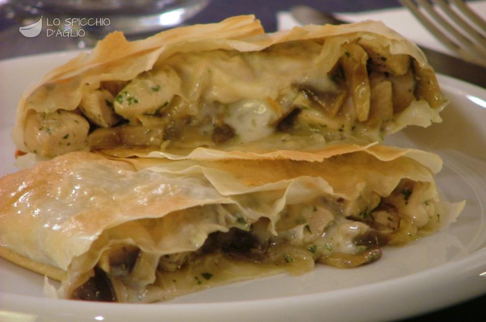 Ricetta pacchetti di pollo e funghi in pasta fillo le for Ricette di pasta
