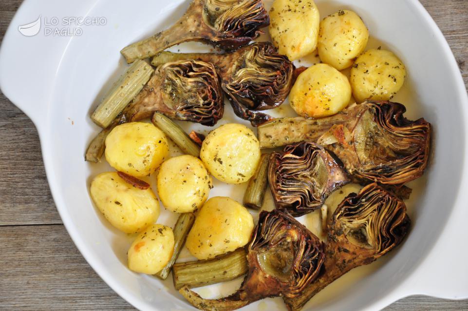 Ricetta patate e carciofi al forno le ricette dello for Carciofi ricette