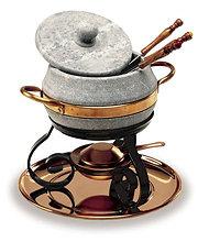 set per fonduta in pietra ollare